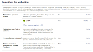 Facebook — Nettoyer vos applications — Paramètres des applications