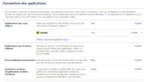 Facebook — Nettoyer vos applications — Paramètres des applications