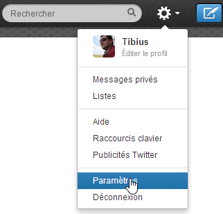 Twitter Paramètres