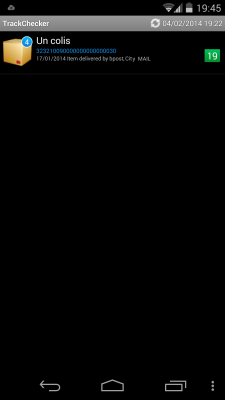 TrackChecker - Liste colis