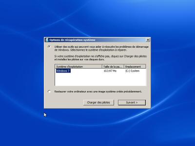 Options de recuperation systeme Windows 7
