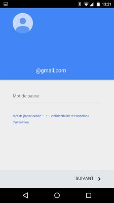 Ajout comtpe Google Mot de passe